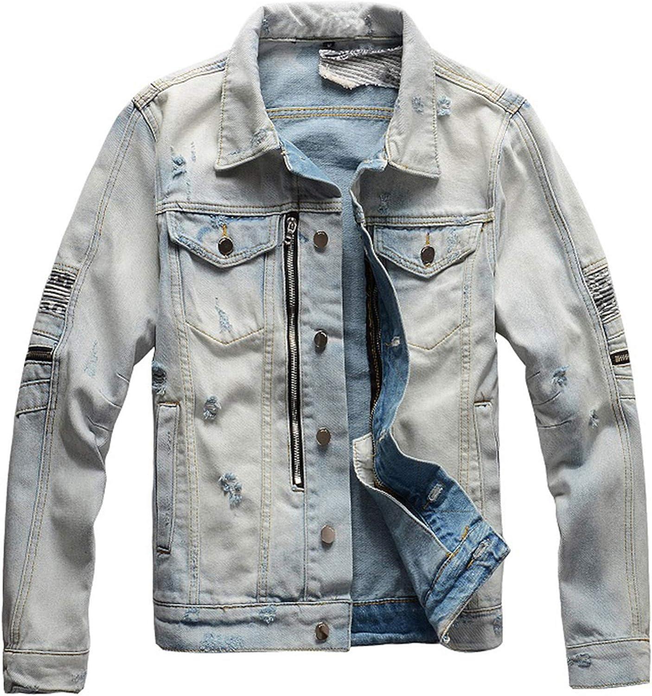 Men's Vintage Light Blue Biker Jean Jacket Streetwear Printed Patchwork Denim Coat Outerwear