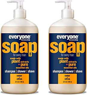 Everyone Men's 3-in-1 Soap - Body Wash, Shampoo, and Shave Gel - Cedar + Citrus, 32 Ounces, 2 Count
