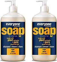 Everyone Men's 3-in-1 Soap - Body Wash, Shampoo, and Shave Gel - Cedar + Citrus, 32 Ounces, 2 Count