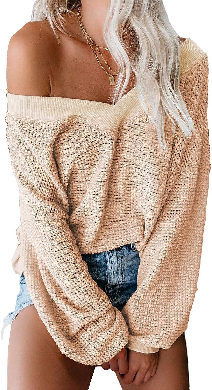 Aleumdr Women's V Neck Long Sleeve Waffle Knit Sweater Off Shoulder Pullover Jumper Tops