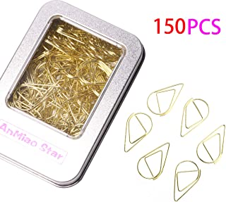 AnMiao Star 150Pcs Golden Stainless Steel Water Drop-Shaped Paperclips Bookmarks Paper Clips for Book, Memo, Paper, Poster, Decoration.