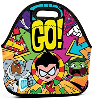 Neoprene Lunch Bags Food Container Tote For Women Men - Portable Insulated Picnic Bento Handbags For Work Outdoor Travel - Teen Titans Go! To The Movies Art Poster