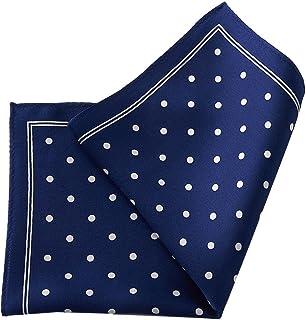 [オジエ] ozie【ポケットチーフchief】絹シルク100%?ドット柄?日本製?アンタイドやクールビズのきちんと感に/ネイビーブルー紺青