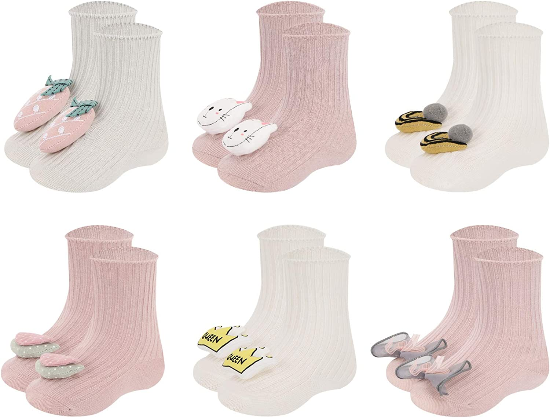 Athlemo Baby Girl Boy Toddler Infant Non Slip Crew/Ankle Slipper Socks 3D Cartoon Anti Skid Cotton Turn Cuff Socks 6 Pairs