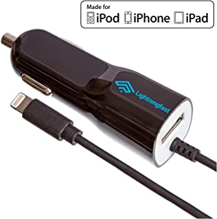 Apple Certified Lightning Car Charger - 3.1a Rapid Power - for iPhone 11 Pro XS Max X XR XS 8 Plus 7 6S 6 5S 5 5C SE - Cable & USB Socket for 2 Devices - Keeps You Connected