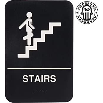 Braille Grade II Black//White Stairs ADA Sign Tactile letters 6x9