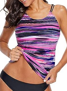8882a45ee3 Aleumdr Womens Striped Printed Strappy Racerback Tankini Swim Top No Bottom  S - XXXL