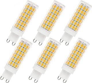 Bombillas LED G9, 6 bombillas LED G9 de 7W, sin parpadeo, sin estroboscópicos, bombillas ahorradoras de energía, 710LM, blanco cálido, 110-230 V CA