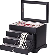 Black White Wooden Jewellery Box Earring Bracelets Organizer 3 Drawers Glass Top MG01