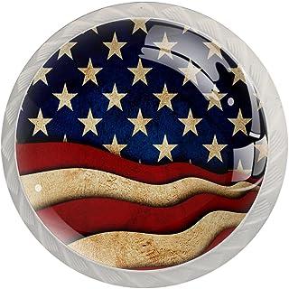 Boutons De Tiroir Verre Cristal Rond Poignées d'armoires tirer 4 pièces,drapeau américain commémoratif de la fête de l'ind...