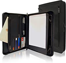 KHOMO Black Executive PadFolio Case with Notepad Holder and Pockets for iPad, iPad Air, iPad Pro 9.7 and 10.5 inch