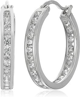 Sterling Silver Cubic Zirconia Medium Round Hoop Earrings (3/4 cttw)