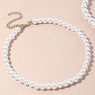 Clenp Collares para mujer, 1/5 piezas, elegante collar de mano de obra fina, joyería de imitación redonda de perlas para u...