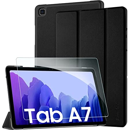 EasyAcc Kompatibel mit Samsung Galaxy Tab A7 10.4 2020 Hülle mit Panzerglas -Ultra Dünn mit Standfunktion Slim PU Leder Smart Schutzhülle Kompatibel Galaxy Tab A7 10.4 2020 SM-T500/SM-T505 (Schwarz)
