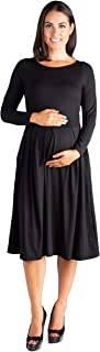 24seven Comfort Apparel Maternity Clothes for Women Long Sleeve Fit Flare Midi Dress Pockets - Made in USA - (Sizes S-3XL)