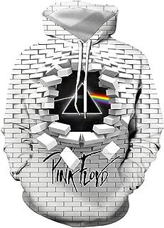 Felpa con Cappuccio Stampata in 3D Bianca dei Pink Floyd, Miglior Regalo Souvenir Rock Hip Hop Uniforme da Baseball(S-4XL)