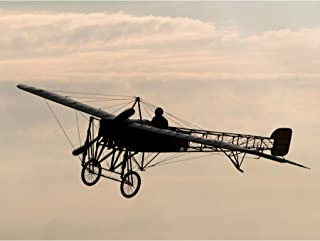Herzog Restored Bleriot XI Aircraft Silhouette Photo Premium Wall Art Canvas Print 18X24 Inch