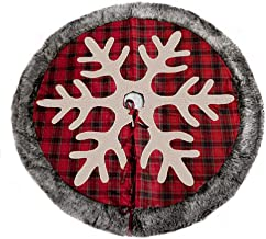 XDShopping Christmas Tree Skirt – 48 inches Cotton Plaid Tree Skirt with Snowflake Christmas Decoration for Xmas Party and Holiday.