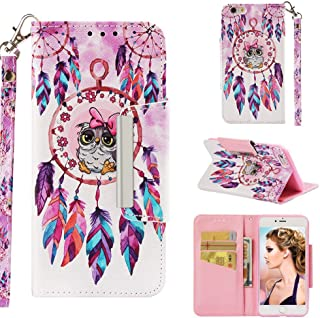 Case for iPhone 6 Plus/6S Plus,3D Printing PU Leather Kickstand Wallet Case with Card Slots Inner Soft TPU Bumper with Magnetic Closure & Wrist Strap Compatible with Apple iPhone 6 Plus/6S Plus -Bird