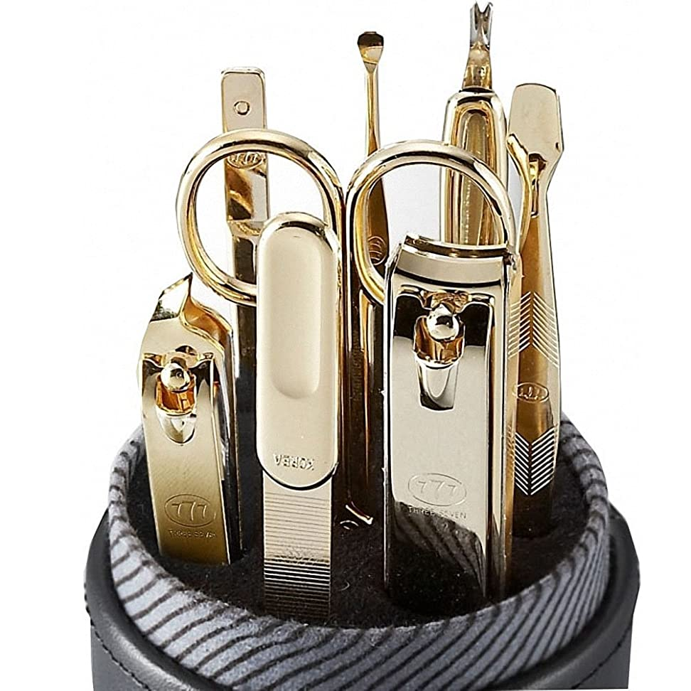 伝統コンソール女優【 三セブン】THREE SEVEN TS-007C Manicure Set in Round Synthetic Leather Case 三セブン円形の合成革ケースでTS-007 Cマニキュア セット (2.Gold) [並行輸入品]