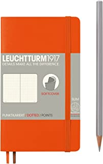 """Leuchtturm 1917 Soft Cover Small (A6) Pocket Journal, Orange, 3.5"""" x 5.9"""" - Dotted/Points"""