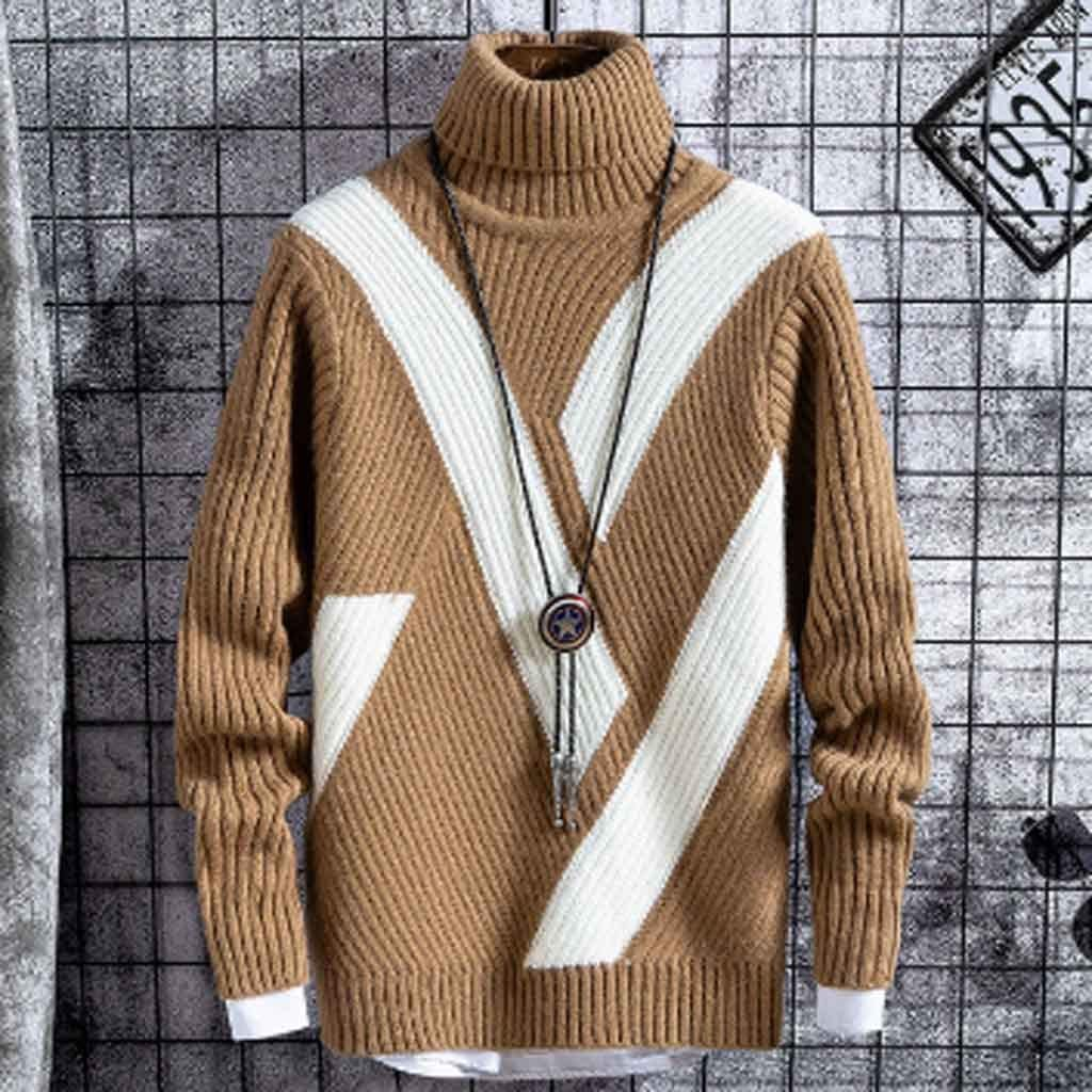 ZYING Winter Thick Warm Sweaters Men Turtleneck Casual Patchwork New Mens Christmas Sweater Loose Pullover Male Knitwear Brand Clothes (Color : B, Size : XL Code)