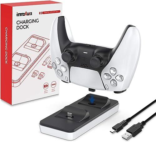 Station de Recharge Portable pour Contrôleur PS5, innoAura Chargeur Double pour contrôleur PS5 avec 2 Ports de Charge...