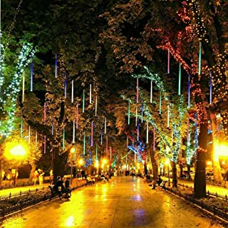 ABDQPC Shower Rain Lights Outdoor Christmas Decoration String Lights Drop 11.7 inch 8 Tubes Cascading Fairy Lights for Christmas Tree Garden Wedding Party Home Decor Multi Color