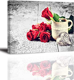 Red Rose Flowers Canvas Wall Art, White Coffee Cup Picture, Heart Shaped Gift on Vintage Wood Background Painting, Rustic Style Home Decor for Bedroom, Kitchen Decoration 16x12 inches (Waterproof)