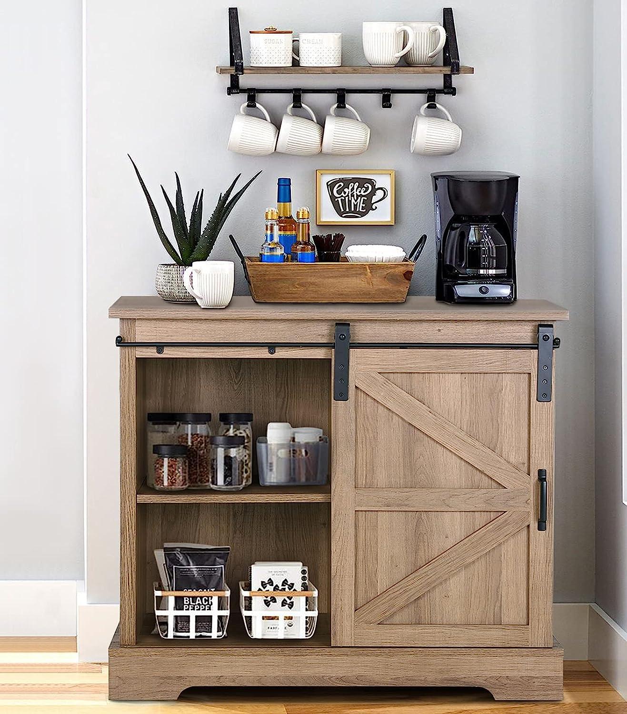Buy Farmhouse Coffee Bar Cabinet Sliding Barn Door Kitchen Sideboard Buffet Storage Cabinet Online In Indonesia B09136plbr