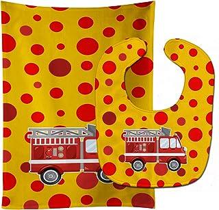 "Caroline's Treasures BB6998STBU Fireman's Firetruck Baby Bib & Burp Cloth, 11 x 18"", multicolor"
