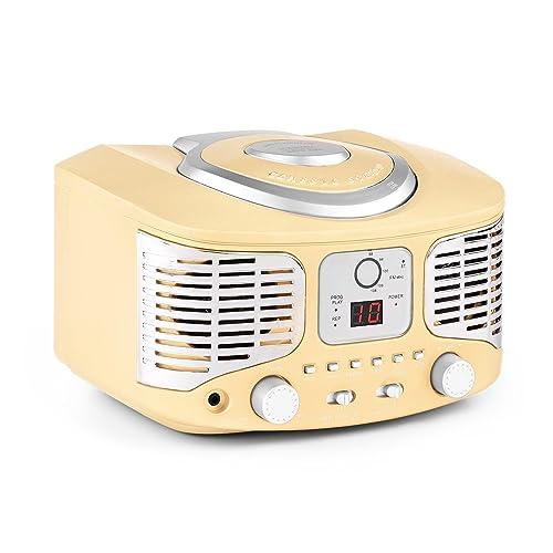 auna RCD320 - CD-Radio , Chaîne stéréo , Radio de Cuisine , Look Vintage , Design Nostalgie , Lecteur CD , Tuner Radio FM , Entrée AUX pour Connexion avec appareils Audio externes , Portatif , Rouge