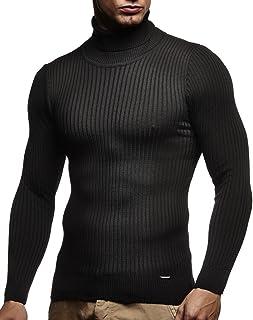 Leif Nelson Męski sweter z golfem slim fit koszulka z długim rękawem czarny męski cienki sweter dziany - bluza z golfem - ...