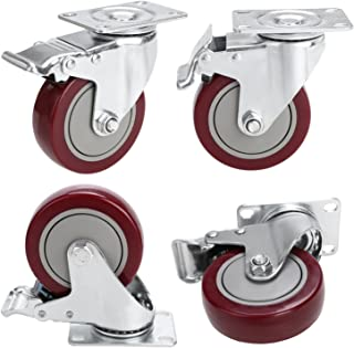 4'' PVC Heavy Duty Swivel Caster Wheels Lockable Ball Bearing 1200lbs (Set of 4) - Red