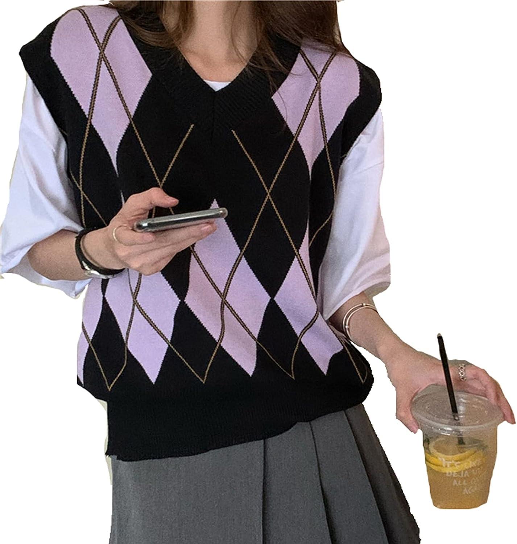 Women's Knit Sweater Vest Cardigan Argyle Sweater Vest Retro Plaid Vest Top for Teen Girls Trendy