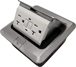 Pop Up Floor Box Countertop Box 20A GFCI with Duplex Receptacle - Brush Stainless
