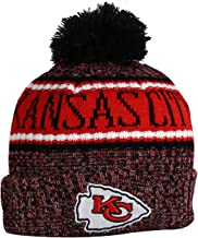 KC CHIEFS Adult Winter Knit Beanie Hat With Removable Pom Pom One Size Fits Most Multicolor