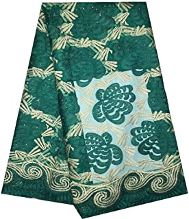 ZHANGOOQI African Lace Fabric Sewing Tulle Fabric Matching African Beaded Stones ASO Oke Full Length Headtie Gele Wrap (Color : Green, Size : 5YARDS)