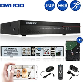 OWSOO 4 Channel Full 960H/D1 H.264 HDMI P2P Cloud Network DVR Digital Video Recorder with 3.5 Inches 1TB Hard Drive