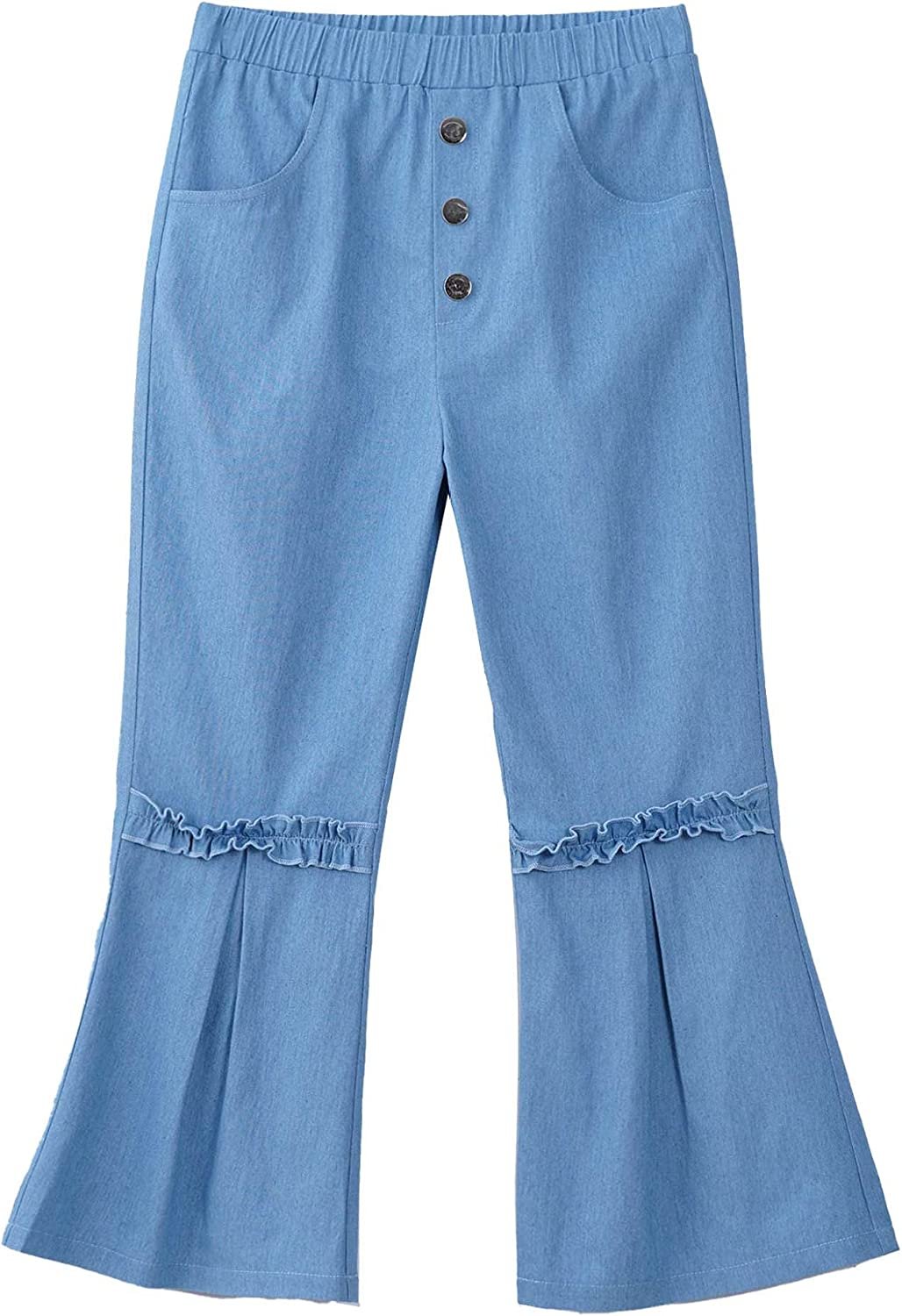 Jowowha Kids Girls Stretchy Waist Denim Bell-Bottoms Pants with Pockets Hip Hop Jazz Athletic Activewear Bottoms