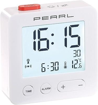 PEARL Despertador de Viaje inalámbrico con termómetro y Pantalla iluminada (Radio Despertador Digital), plástico, Blanco, 6,6 x 6,6 x 2,1 cm
