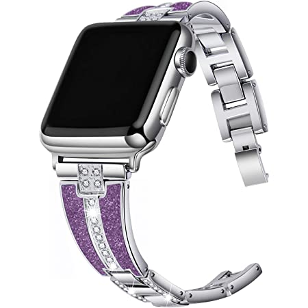 JSGJMY Bling Bands Compatible with Apple Watch Band with Case,Women Diamond Rhinestone Metal Jewelry Wristband Strap for iwatch SE, Series 6/5/4/3/2/1 (Silver+Bright Purple, 38mm/40mm)