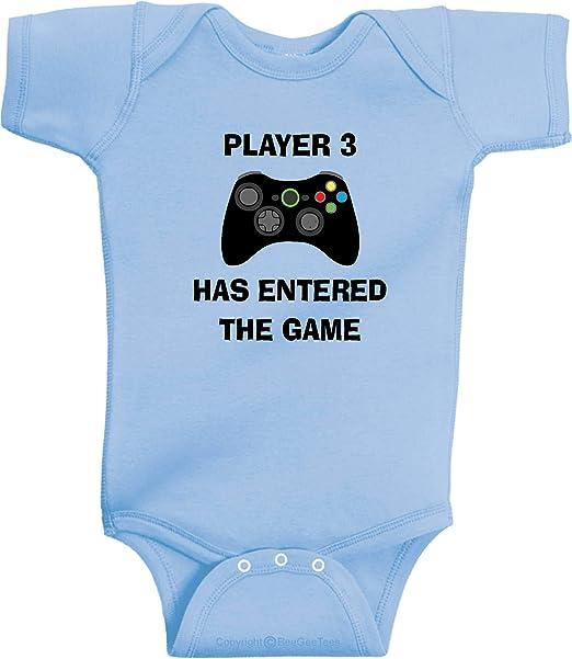 Video Game Baby Onesie Handmade Baby Shower Gift Player 3 Has Entered The Game Baby Onesie Handmade Baby Gift