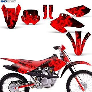 Wholesale Decals MX Dirt Bike Graphic Kit Sticker Decals Compatible with Honda XR80 XR100 2001-2003 - Flames Red