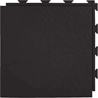 Greatmats Slate Look Floor Tiles, 1x1 Ft x .25 Inch PVC Waterproof Basement Flooring Tile, 20 Pack (Black)