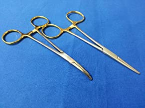 2 PCS GOLD HANDLE PREMIUM O.R GRADE MOSQUITO LOCKING HEMOSTAT FORCEPS STRAIGHT + CURVED 5