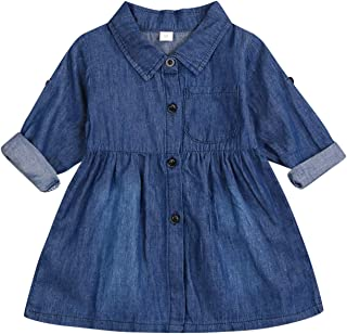 SEVEN YOUNG Kids Toddler Baby Girls Fall Dresses Outfits Ruffle DenimBlouse Princess Party Tutu Skirt Dress Winter Clothes