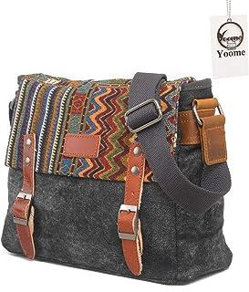 0a764f25ff Yoome Style Ethnique Messenger Bag Multifonctionnel Canvas Crossbody Sac à  bandoulière pour Hommes et Femmes