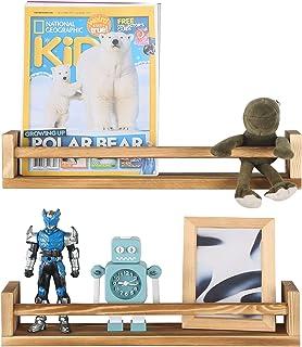 Joiishom Set of 2 Rustic Wood Nursery Book Shelves,...