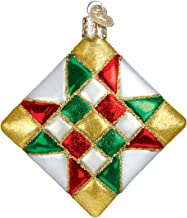 Old World Christmas Ornaments: Asstorted Quilt Square Glass Blown Ornaments for Christmas Tree